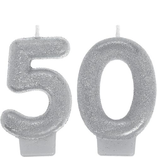 Glitter Silver Number 50 Birthday Candles, 2-pc Product image