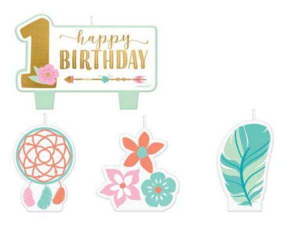 Boho Girl 1st Birthday Candles, 4-pk