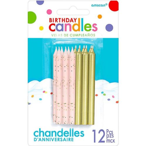 Gold & Pink Birthday Candles, 12-pk