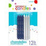 Dark Blue & Silver Birthday Candles, 12-pk | Amscannull