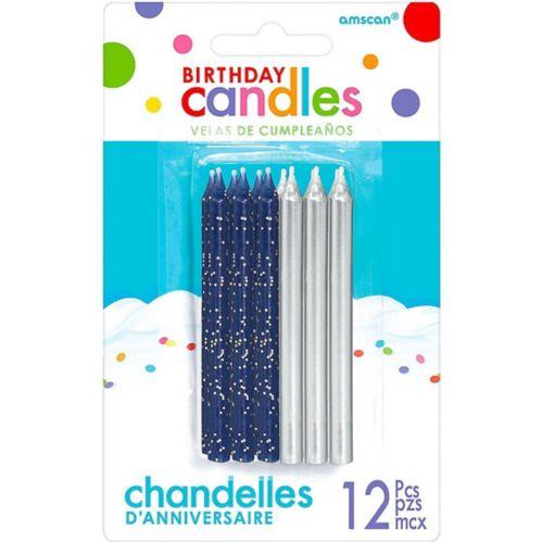 Dark Blue & Silver Birthday Candles, 12-pk