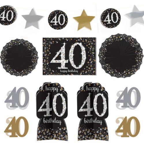 Sparkling Celebration 40th Birthday Room Decorating Kit, 10-pc