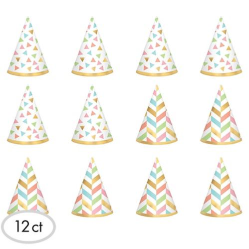 Mini chapeaux pastel et dorés, paq. 12