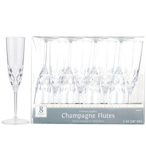 Flûte à champagne style cristal en plastique transparent qualité supérieure, paq. 8