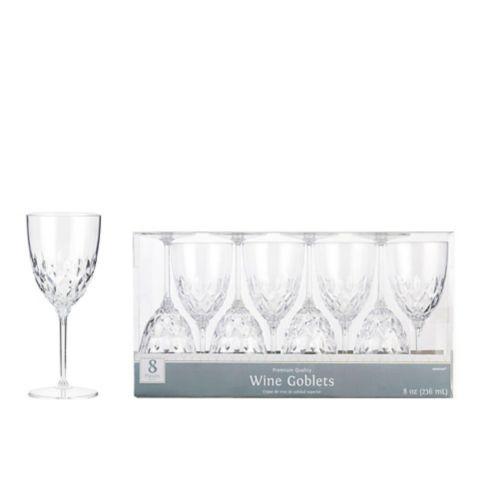 CLEAR Crystal Premium Plastic Wine Glasses, 8-pk