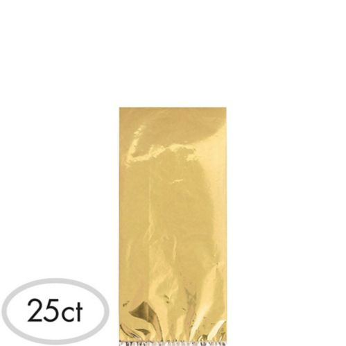 Small Metallic Gold Plastic Treat Bags, 25-pk Product image