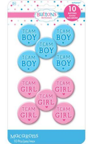 Girl or Boy Gender Reveal Buttons, 10-pk Product image