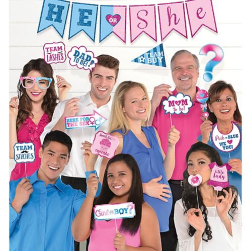He or She Gender Reveal Photo Booth Kit, 21-pc