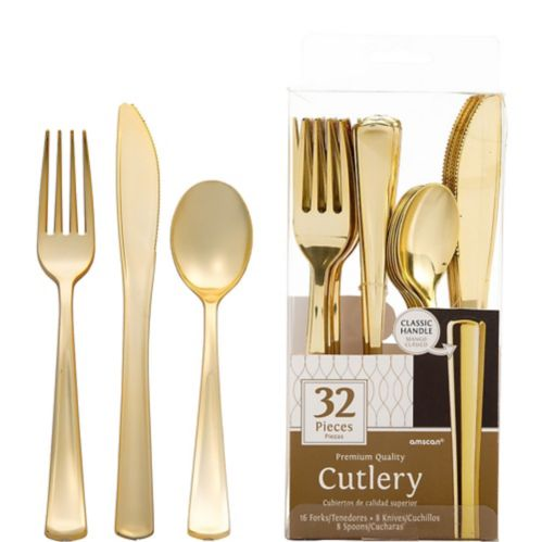 Gold Plastic Cutlery Set, 32-pc