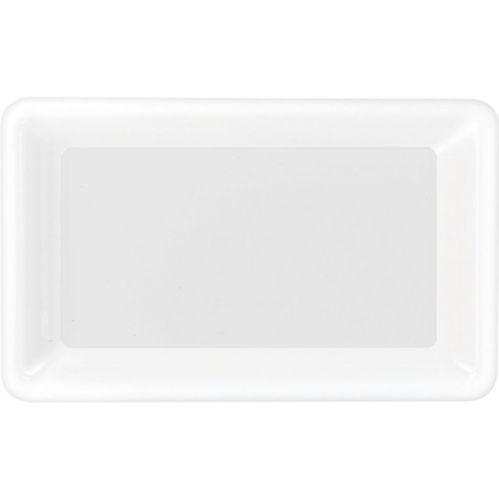 White Plastic Rectangular Serving Platter, 11 x 18-in Product image
