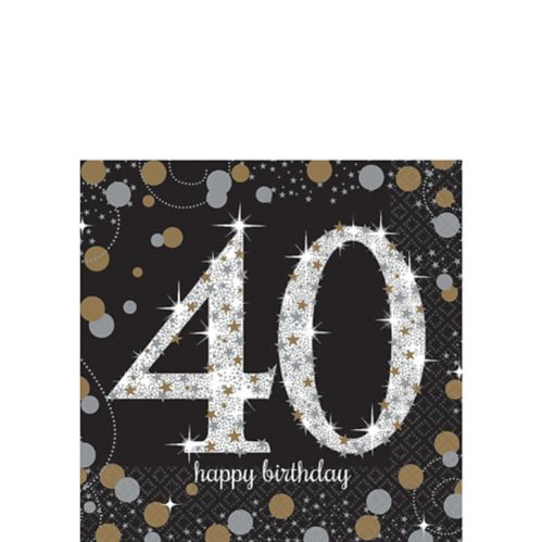 Sparkling Celebration 40th Birthday Beverage Napkins, 16-pk