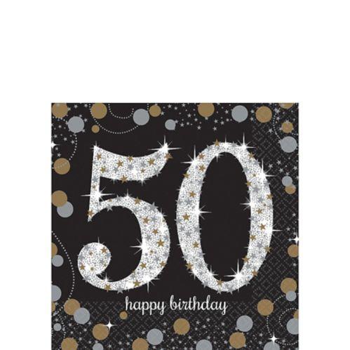 Serviettes à boisson Célébration scintillante 50eanniversaire, paq. 16