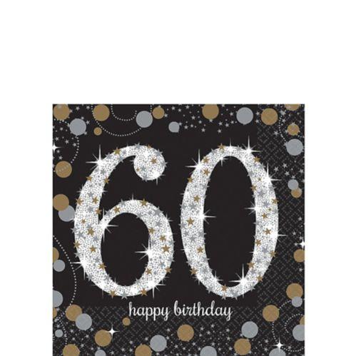 Serviettes à boisson Célébration scintillante 60eanniversaire, paq. 16 Image de l'article