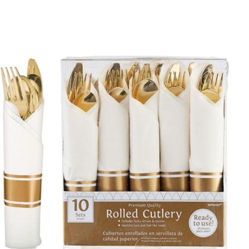 Rolled Metallic Rose Gold Premium Plastic Cutlery Set Product image