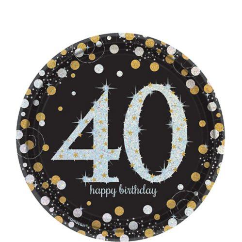 Assiettes à dessert étincelantes iridescentes Célébration 40e anniversaire, paq. 8