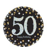 Sparkling Celebration Prismatic 50th Birthday Dessert Plates, 8-pk