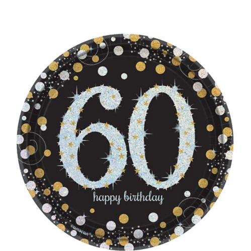 Sparkling Celebration Prismatic 60th Birthday Dessert Plates, 8-pk
