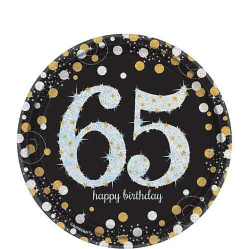 Sparkling Celebration Prismatic 65th Birthday Dessert Plates, 8-pk