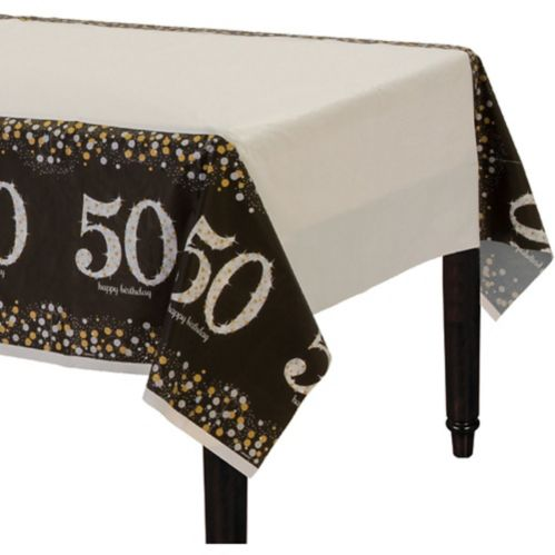 Sparkling Celebration 50th Birthday Table Cover