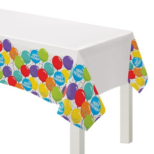 Balloon Birthday Celebration Plastic Table Cover, 3-pk