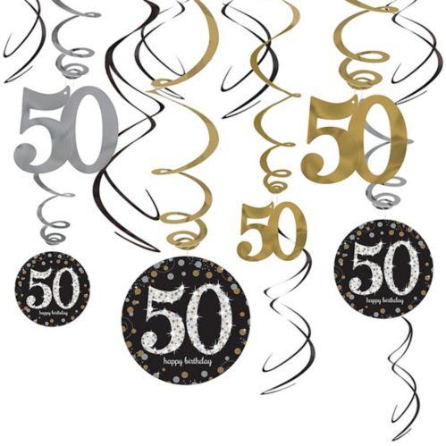 Serpentins décoratifs scintillants 50e anniversaire, paq. 12