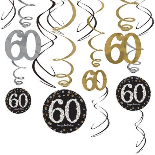 Sparkling Celebration 60th Birthday Swirl Decorations, 12-pk