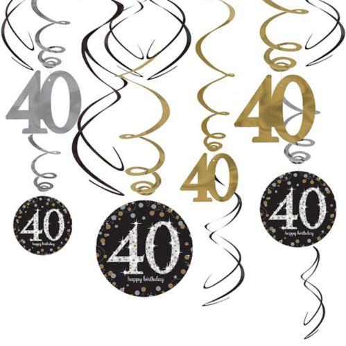 Sparkling Celebration 40th Birthday Swirl Decorations, 12-pc