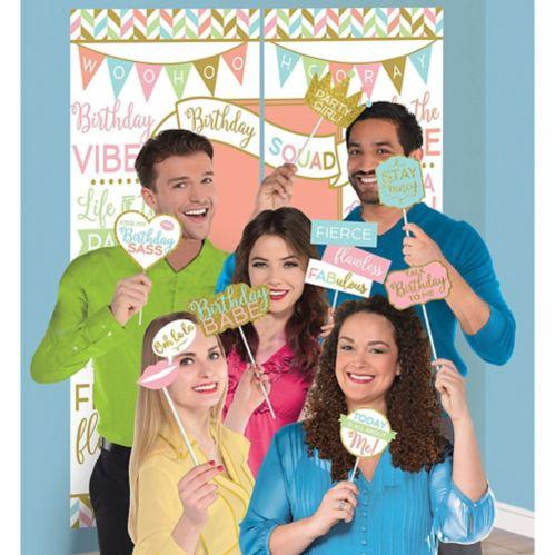 Décoration murale d'anniversaire Confetti amusant avec accessoires cabine de photo