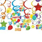 Birthday Balloon Swirl Decorations, 24-pc | Amscannull