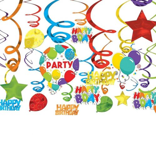 Birthday Balloon Swirl Decorations, 24-pc