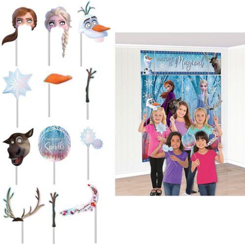Décoration scène La Reine des neiges 2 avec accessoires cabine de photo