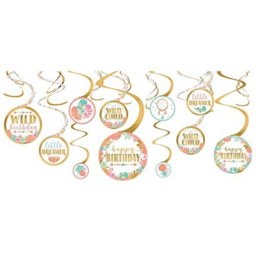 Boho Girl Swirl Decorations, 12-pk