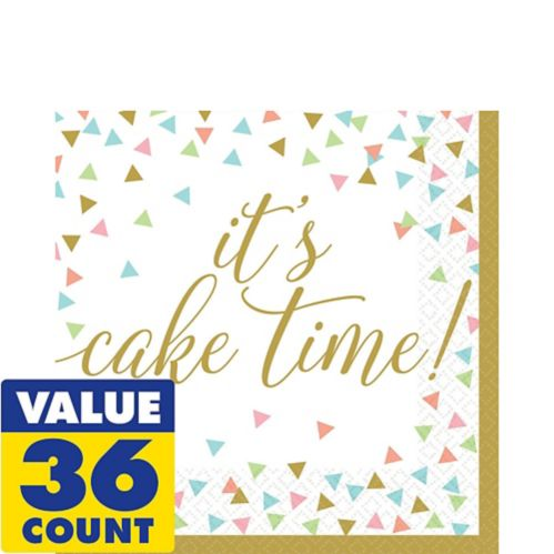 Confetti Fun Cake Time Lunch Napkins, 36-pk