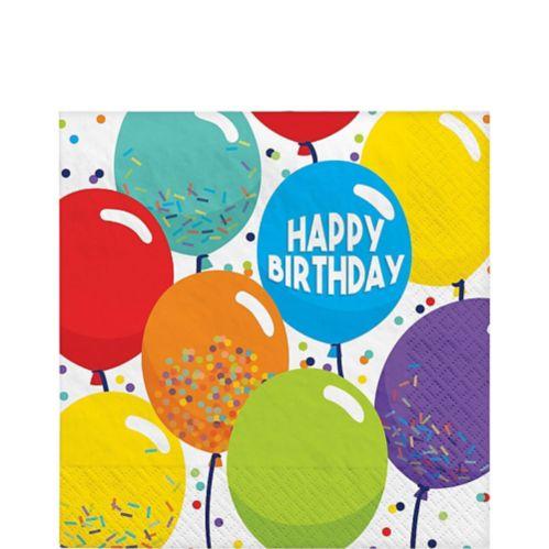 Serviettes de table Ballons de célébration d'anniversaire, paq. 125