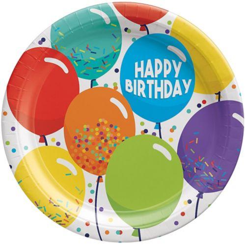 Balloon Birthday Celebration Lunch Plates, 9-in, 60-pk