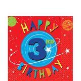 Serviettes de table Fusée 3e anniversaire, paq. 16 | Amscannull
