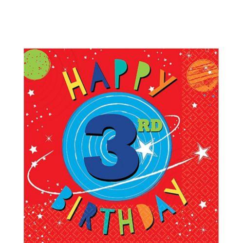 Serviettes de table Fusée 3e anniversaire, paq. 16 Image de l'article