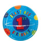Assiettes à dessert 1er anniversaire Fusée, paq. 8 | Amscannull