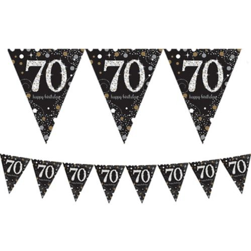 Prismatic 70th Birthday Pennant Banner - Sparkling Celebration Product image