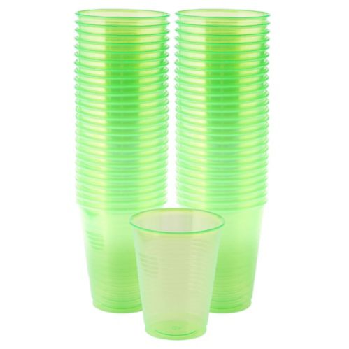 Black Light Neon Green Plastic Cups, 50-ct Product image