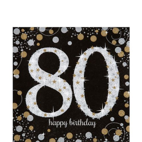 Serviettes de table Célébration scintillante 80e anniversaire, paq. 16