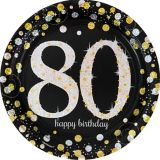 Sparkling Celebration Prismatic 80th Birthday Lunch Plates, 8-pk