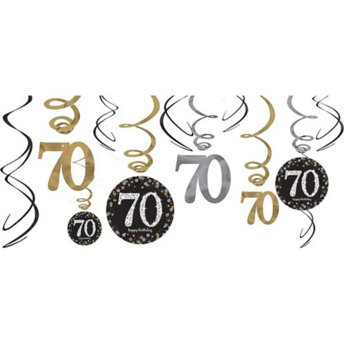 Sparkling Celebration 70th Birthday Swirl Decorations, 12-pc Product image