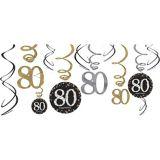 Sparkling Celebration 80th Birthday Swirl Decorations, 12-pc | Amscannull