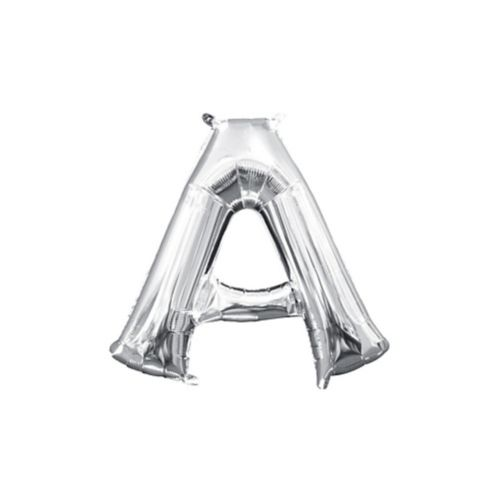 Air-Filled Letter A-Z Balloons, Silver, 13-in