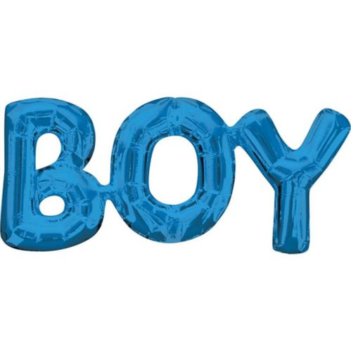 Air-Filled Boy Letter Balloon Banner,  Blue, 9-in