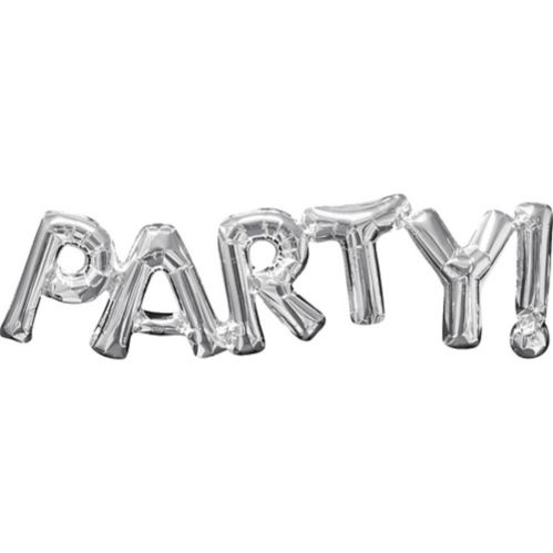 Air-Filled Party Letter Balloon Banner, Silver