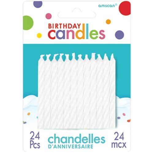 Bougies d'anniversaire en spirale, couleur blanche, paq. 24 Image de l'article