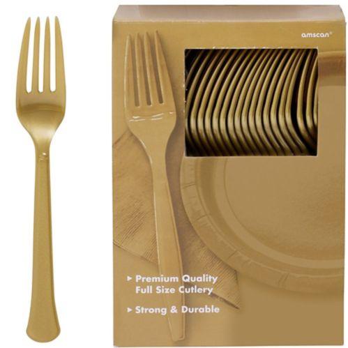 Fourchettes en plastique de première qualité or, paq. 100