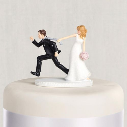 Tie Puller Bride & Groom Wedding Cake Topper